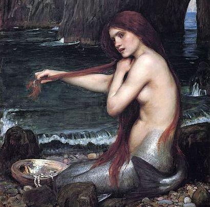 """Obraz Johna Williama Waterhouse """"Mořské panna"""", z roku 1901. Bylo mnoho zkušeností s pozorováním mořských panen a mužů, jako např. Kryštofem Kolumbem, Williamem Shakespearem, a Pliniusem starším. (Public domain/Wikipaintings)"""