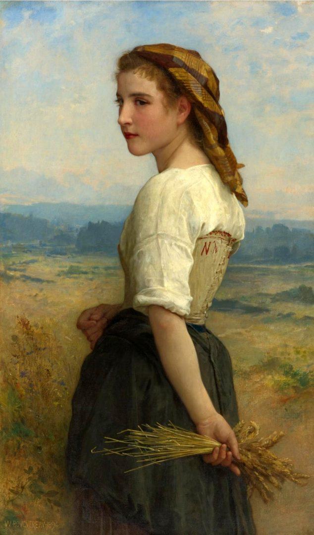 Obraz nazvaný Paběrkující dívka od francouzského malíře Williama Adolpha Bouguereaua. (volné dílo)
