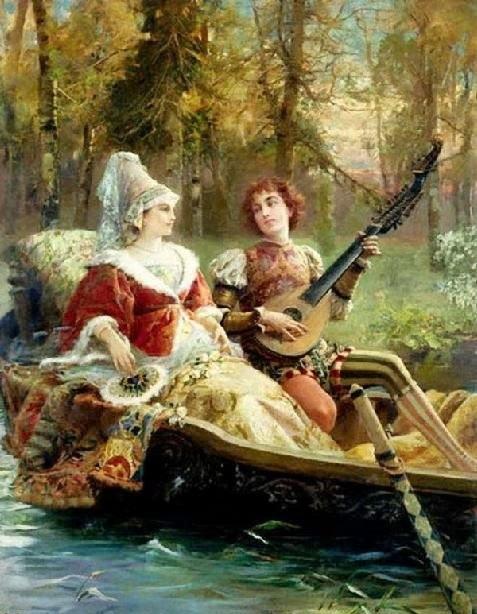 Obraz Romantická serenáda od malíře Cesara Augusta Dettiho. (Volné dílo)