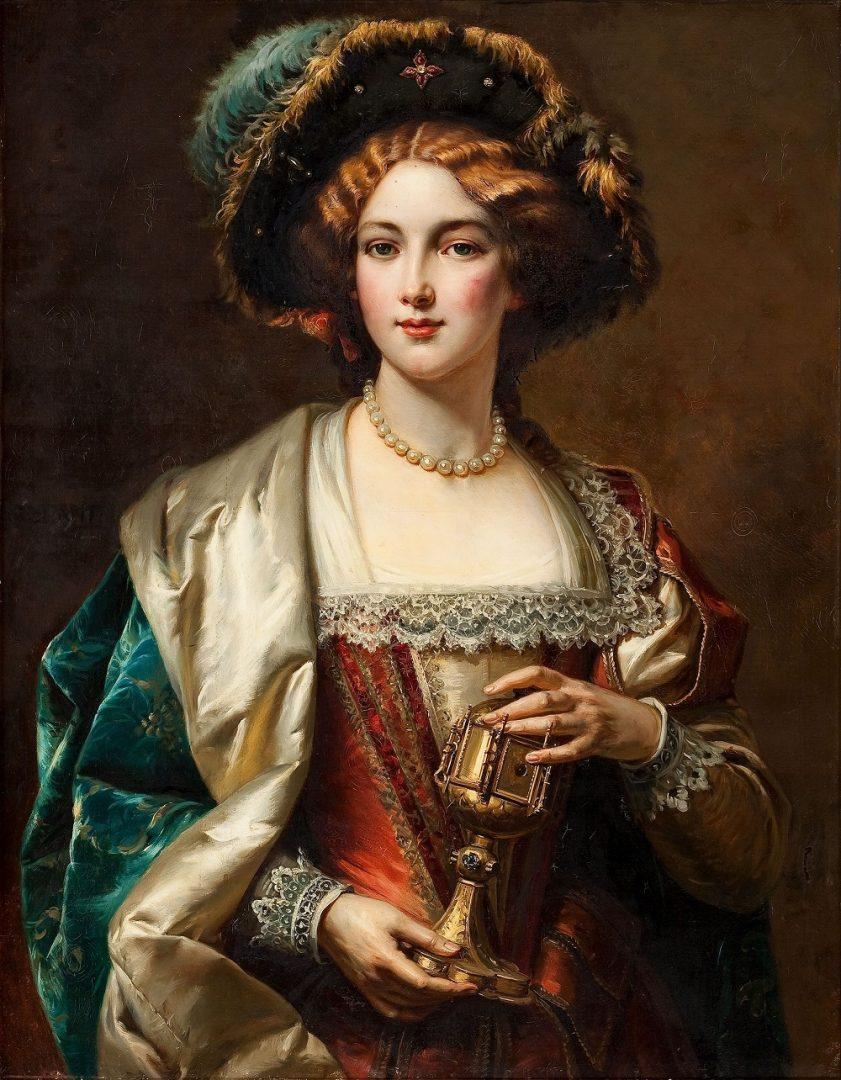 Obraz nazvaný Dáma od italského umělce Cesara Augusta Dettiho. (volné dílo)