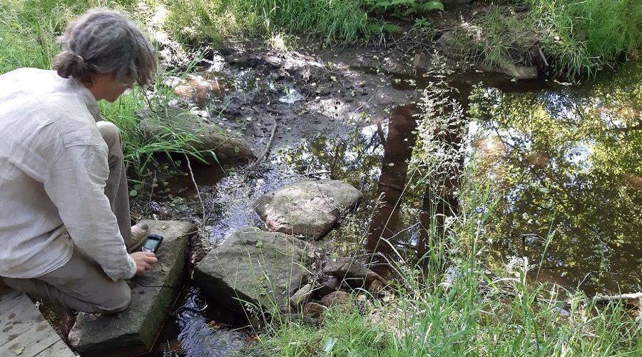 Měření čistoty vody v lesním zdroji. (Z. Danková / ET ČR)