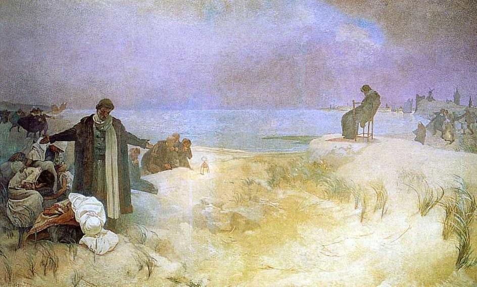 Na sklonku života nakreslil Komenského ve Slovanské epopeji Alfons Mucha.  (Volné dílo)