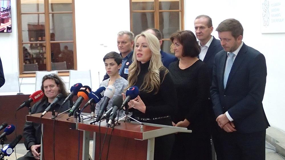 Virtuoska Jitka Hosprová hovoří na tiskové konferenci v Poslanecké sněmovně ČR, 28. listopadu 2019. Pět stran žádá sněmovnu o projednání pronásledování menšin a odebírání orgánů vězňům v Číně. (Epoch Times)