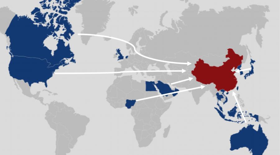 Mapa zemí odkud jsou prokázány cesty orgánových turistů do Číny. (IRCC)