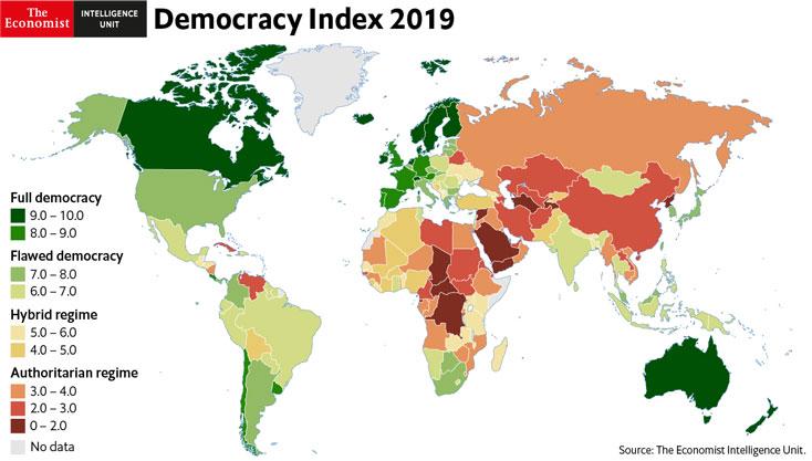 """Index demokracie 2019 – Čína klesá, ČR také. Pouze 5,7% světové populace žije v """"plné demokracii"""" (The Economist)"""