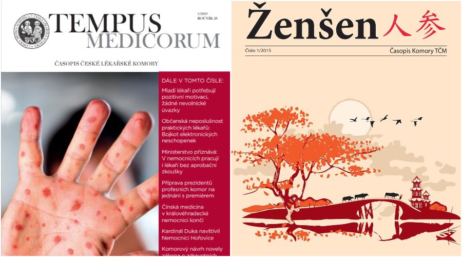 Na jedné straně stojí Západní medicína a na druhé straně tradiční a doplňková. Mohou si pacienti vybrat, kterou metodou se budou léčit a investovat do ní peníze, které platí za zdravotní pojištění? (Zleva) Titulní strana vydání lékařského časopisu Tempus Medicorum. Vydání časopisu Komory tradiční čínské medicíny Žen-šen. (Screenshot / Milan Kajínek / Epoch Times)