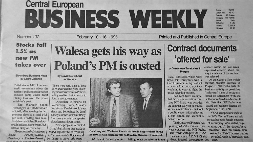 Vydání týdeníku Centra European Bussinese Weekly č. 132, únor 1995. (Fotokopie týdeníku)