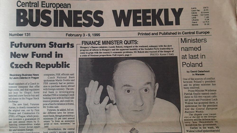 Vydání týdeníku Centra European Bussinese Weekly č. 131, únor 1995. (Fotokopie týdeníku)