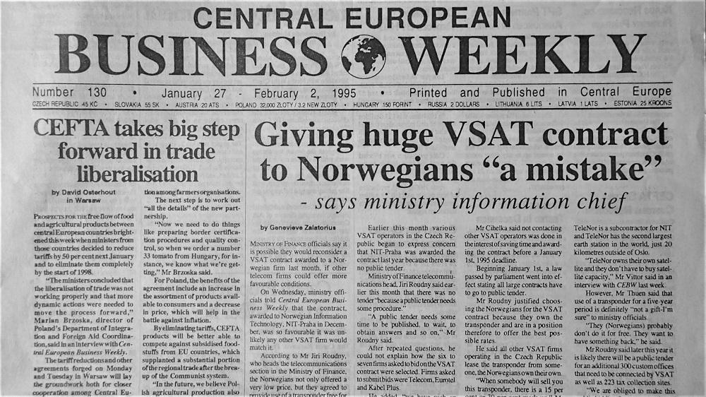 Vydání týdeníku Centra European Bussinese Weekly č. 130, leden 1995. (Fotokopie týdeníku)