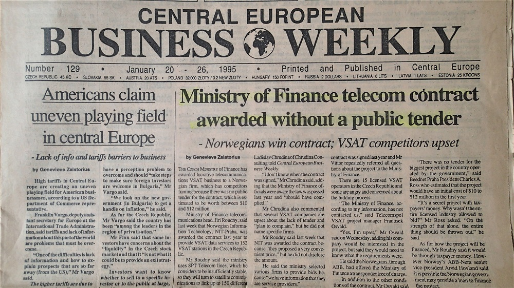 Vydání týdeníku Centra European Bussinese Weekly č. 129, leden 1995. (Fotokopie týdeníku)