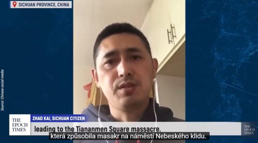 """""""Žádám zrušení Komunistické strany Číny,"""" říká mladý Číňan, svým jménem a s nezakrytou tváří. (Epoch Times)"""