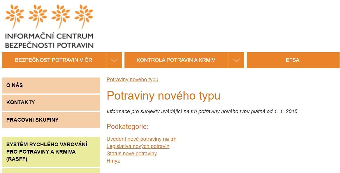 """Co jsou potraviny """"nového typu"""" a """"nové potraviny"""". (Screenshot / bezpecnostpotravin.cz)"""