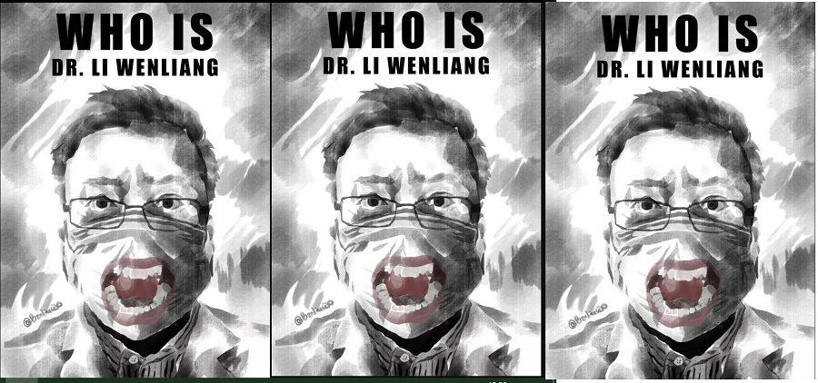 Čínský umělec a disident vylepuje v ulicích Prahy plakáty s obličejem zatčeného čínského doktora Li Wen-lianga (34 let), který mezi prvními varoval před nebezpečným virem, ale byl čínskými úřady umlčen, později sám na virus zemřel. (Baduicao)