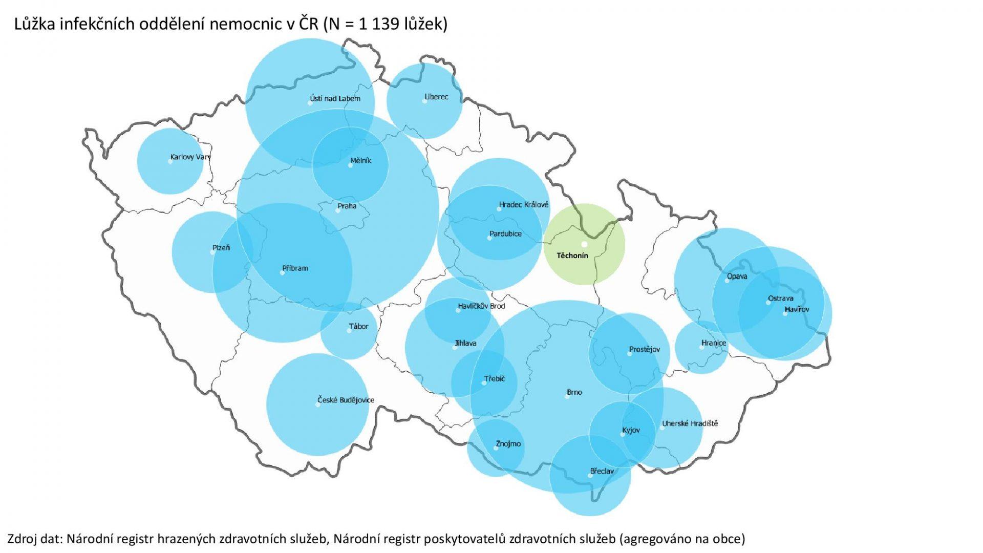 Mapa Lůžek Infekčních Oddělení Nemocnic V ČR