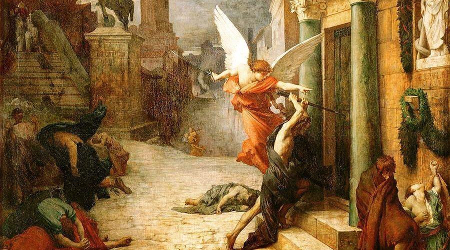 Na obraze, nazvaném Mor v Římě, vidíme anděla smrti, který vyráží kopím do dveří znamení během římského moru. Na pokyn nebeské bytosti, která vybírá ty, kteří mají být potrestáni. Olej na plátně od Francouzského akademického malíře Jules-Élie Delaunay, který žil a tvořil v 18. století. (Volné dílo)