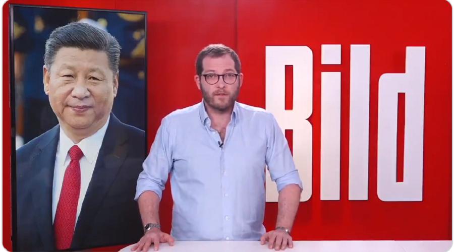 Šéfredaktor německého deníku Bild, Julian Reichelt, odpověděl na dopis, který deníku zaslalo čínské velvyslanectví v Berlíně. (Screenshot z videopostu Juliana Reichelta)
