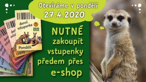Zoo Jihlava otvírá svůj venkovní areál již odpondělí 27.dubna, vstupenky budou online