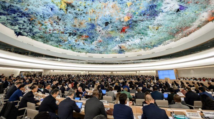 Delegáti se účastní zahájení hlavního výročního zasedání Rady OSN pro lidská práva 24. února 2020 v Ženevě. (Fabrice Coffrini / AFP prostřednictvím Getty Images)