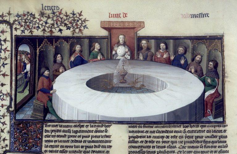 """Rytíři krále Artuše, shromážděni u kulatého stolu, vidí zjevení """"Svatého grálu"""". Z rukopisu Lancelota a Svatého grálu, 1406. (Volné dílo)"""