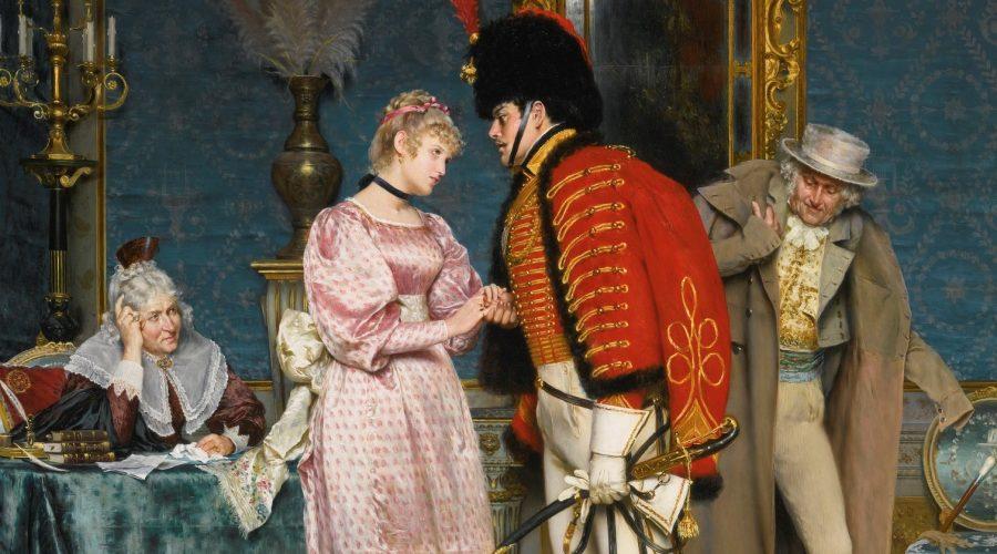 """Obraz nazvaný """"Zasnoubení"""" od italského malíře Artura Ricciho, olej na plátně, 18. století (Volné dílo)"""