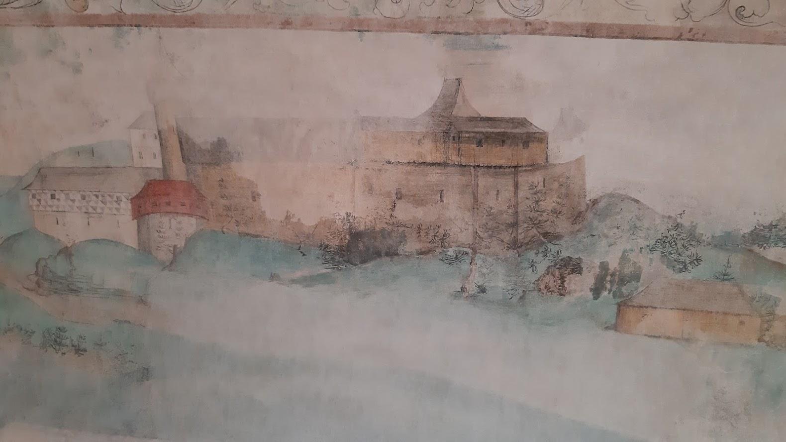 Malba podoby zámku na jeho vnitřní zdi.