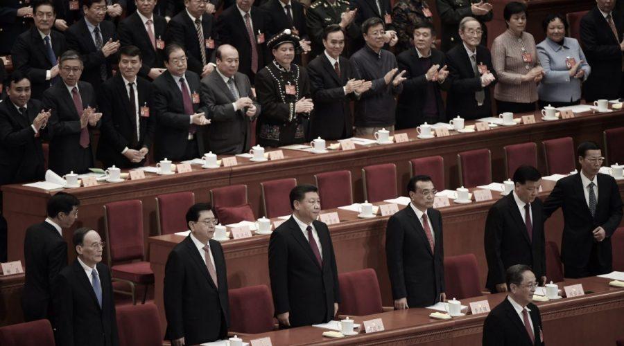 Zasedání politbyra komunistické straně Číny, Velká síň lidu v Pekingu 3. března 2017. (Greg Baker / AFP / Getty Images)
