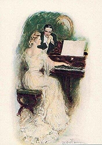 Žena hraje svému muži na pianu. (Volné dílo)