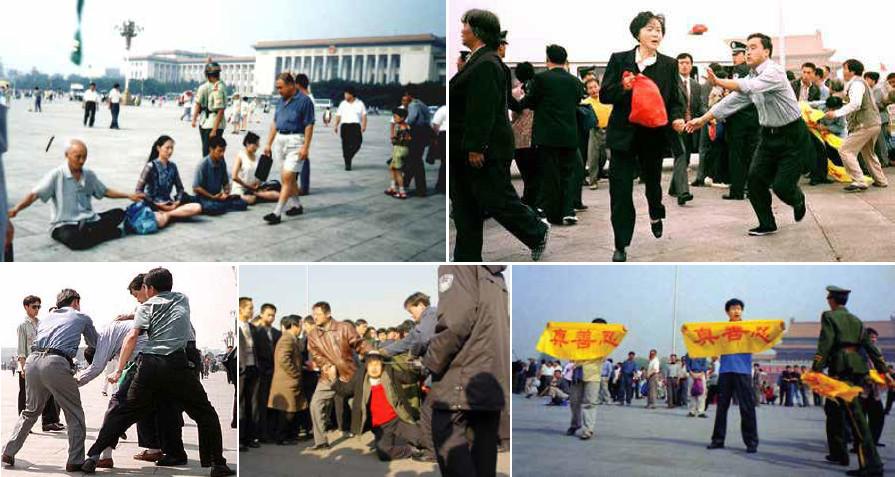 """Zatýkání příznivců Falun Gong na náměstí Nebeského klidu v Pekingu po 20. červenci 1999. Zákaz Falun Gongu prosadil generální tajemník strany Ťiang Ce-min. Za účelem likvidace tohoto duchovního hnutí s kořeny v morálních principech buddhismu a taoismu zřídil takzvaný Úřad 610, kterému dal později čínský advokát Kao Č-šeng přezdívku """"Čínské gestapo"""". (Minghui.org)"""