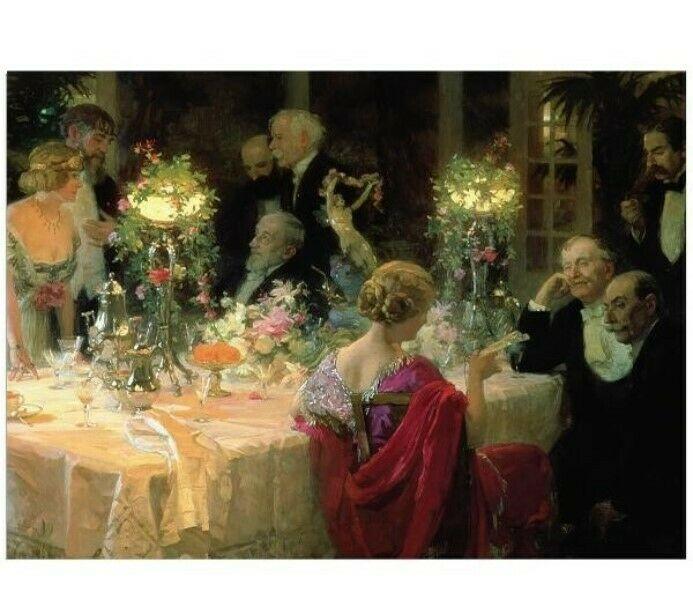 Po večeři, společenská konverzace. (Volné dílo)