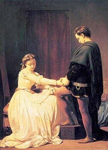 Muž žádá ženu o ruku. (Volné dílo)