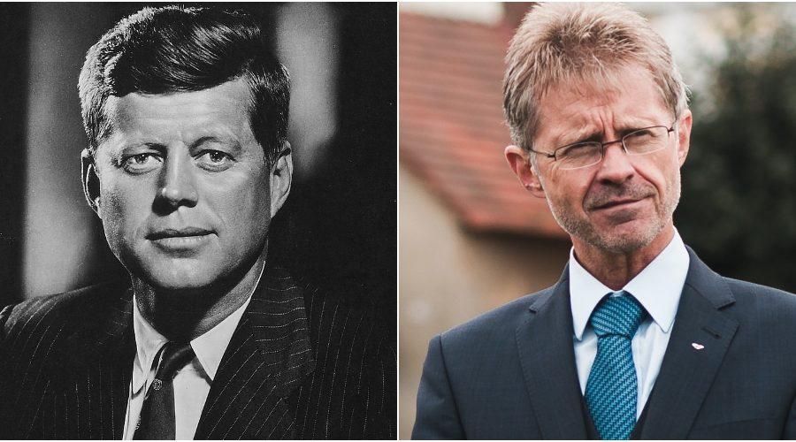 (Zleva) Prezident J. F. Kennedy a předseda Senátu Miloš Vystrčil. (Volné dílo)