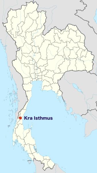 Umístění plánovaného průplavu na mapě Thajska.