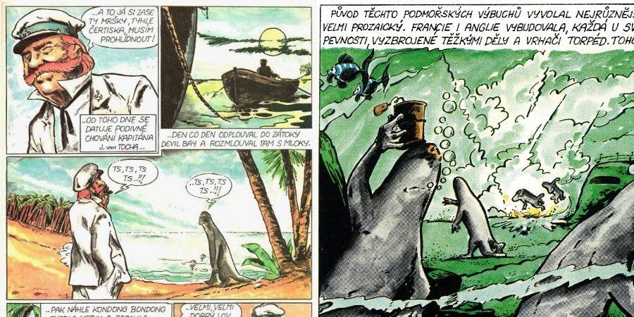 Komiks Válka s mloky se dočkal vydání až v roce 1988 v časopise Kometa. (C-press)