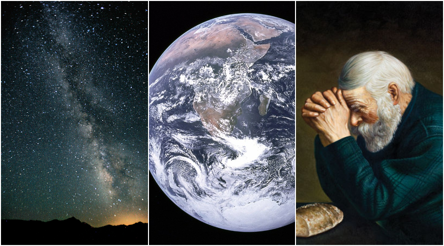 Galaxie Mléčná dráha. (CC BY 2.0 / Steve Jurvetson) Planeta Země. (Volné dílo) Reprodukce fotografie Erica Enstroma. (Volné dílo)