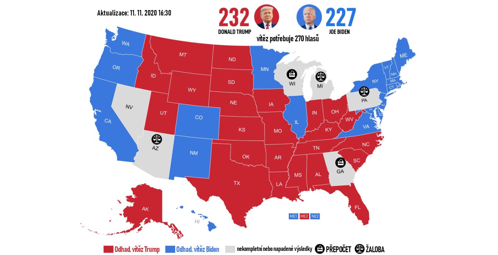 Předběžný výsledek, který nebere v úvahu státy s nedeklarovanými či právně napadenými výsledky. (aktuální k 12. listopadu 2020)