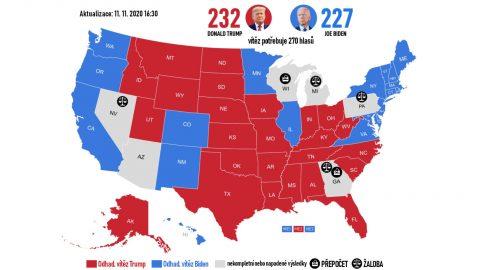 USA: Výsledek voleb zatím není jistý, ve hře jsou přepočty aprávní spory (detailní přehled)