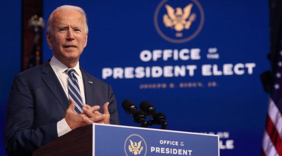 Demokratický prezidentský kandidát Joe Biden hovoří 10. listopadu 2020 ve Wilmingtonu v Del. (Jonathan Ernst / Reuters)