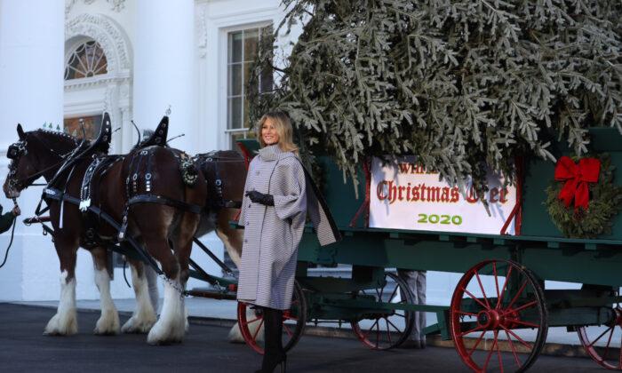 První dáma Melania Trumpová před vánočním stromem Bílého domu 23. listopadu 2020. (Alex Wong / Getty Images)