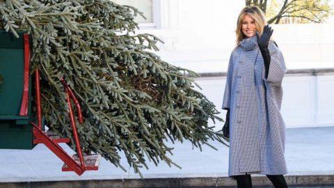 První dáma Melania Trumpová přivítala vánoční stromeček vBílém domě