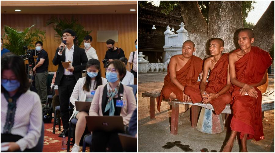 Novináři se účastní tiskové konference mluvčího Národního výboru Čínské lidové politické poradní konference v mediálním centru v Pekingu, Čína, 20. května. 2020. (Thomas Peter / AFP přes Getty Images) Tři buddhističtí mniši si společně odpočívají ve stínu stromu. (Fred J. Eckert)