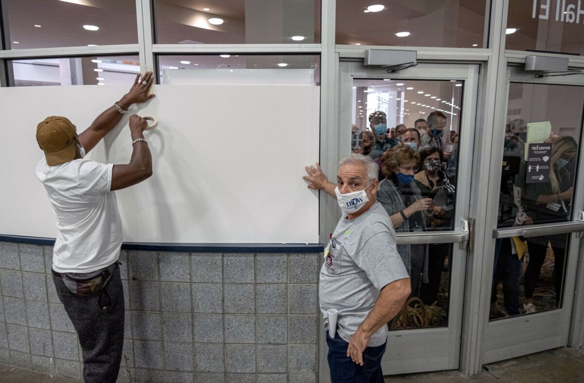 TOPSHOT US VOTE MICHIGAN PROTEST