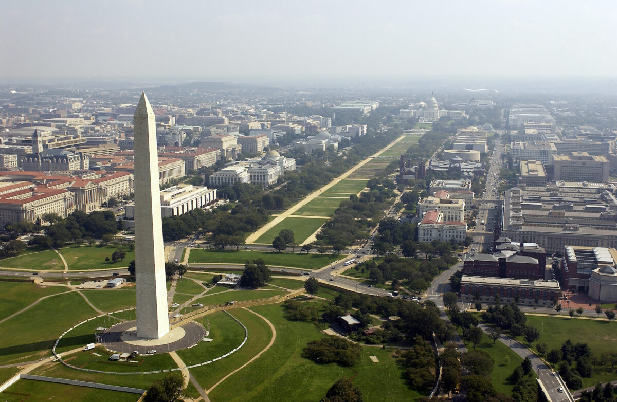 Aerial Photo Of The Washington Memorial And Capitol