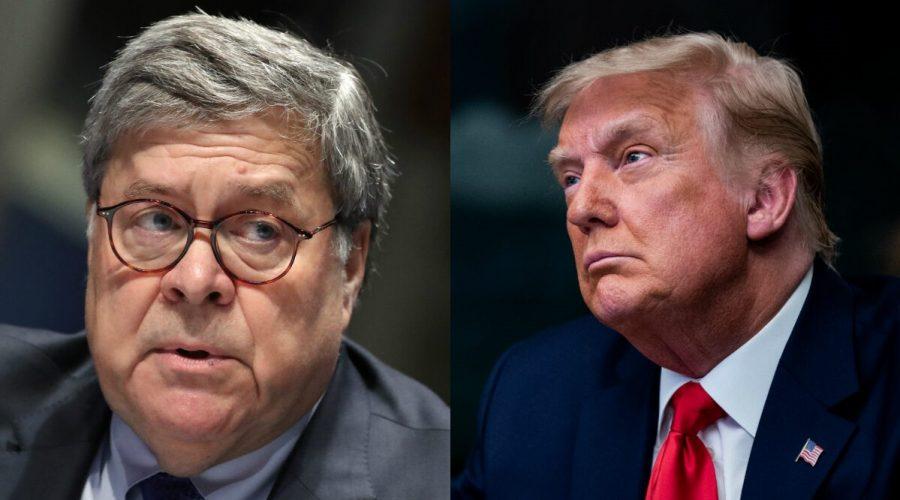 (Zleva) Ministr spravedlnosti William Barr a prezident USA Donald Trump. (Getty Images)
