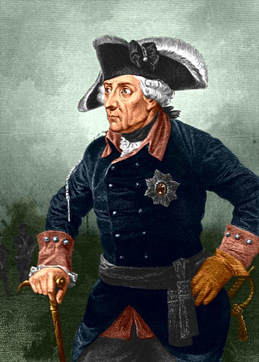 Fridrich II. Pruský s třírohým kloboukem na hlavě