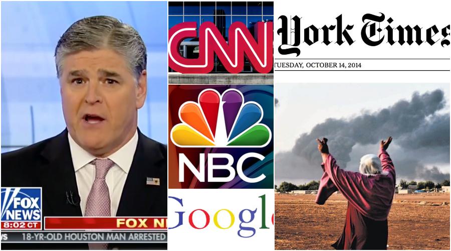 Fotokoláž screenshotů a log velkých světových médií. (Epoch Times)