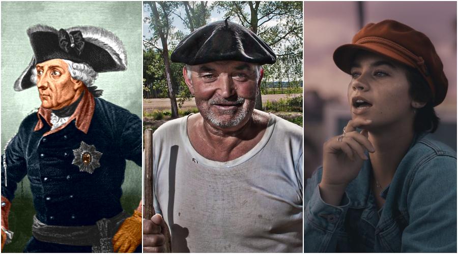 (Zleva) Fridrich II. Pruský s třírohým kloboukem na hlavě. (volné dílo) Dělník v rádiovce, ilustr. foto. (stephane/flickr.com) Kapitánka. (Lucas Newton / Unsplash)