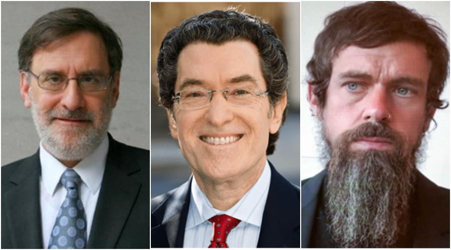 (zleva) Mike Podhorzer, Norman Eisen a šéf Twitteru pan Jack Dorsey s plnovousem ve stylu Rasputina. (neviditelnypes.lidovky.cz)