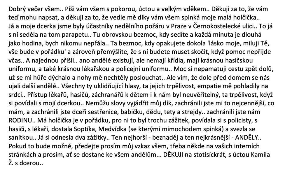 2. Poděkování Hasičům Kamila Ž.