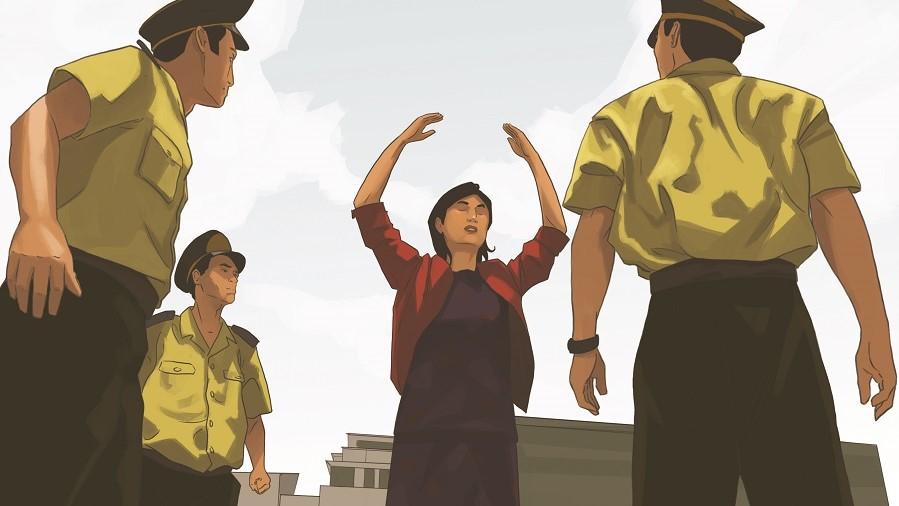 Kresba českého projektu Komiksem proti totalitě, který upozorňuje na případy zneužívání vězňů svědomí v Číně k orgánovým transplantacím. (davidsandgoliath.cz)