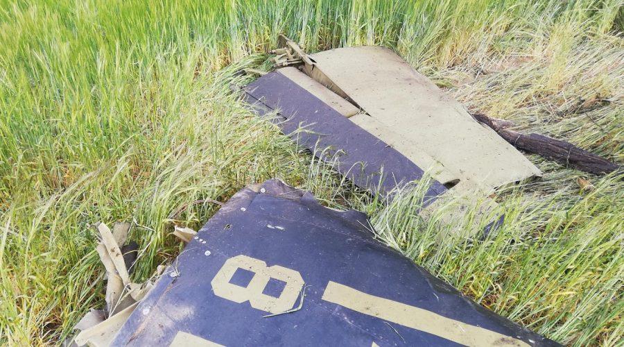 Trosky zříceného letadla na Písecku